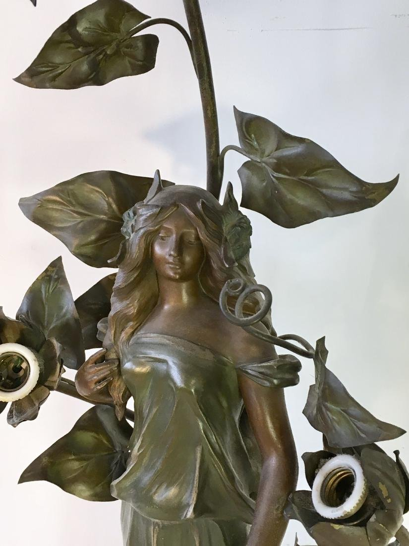 Antique French Art Nouveau Figural Lamp - 2