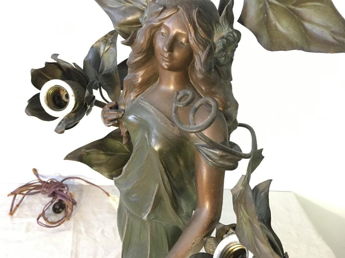 Antique French Art Nouveau Figural Lamp - 5