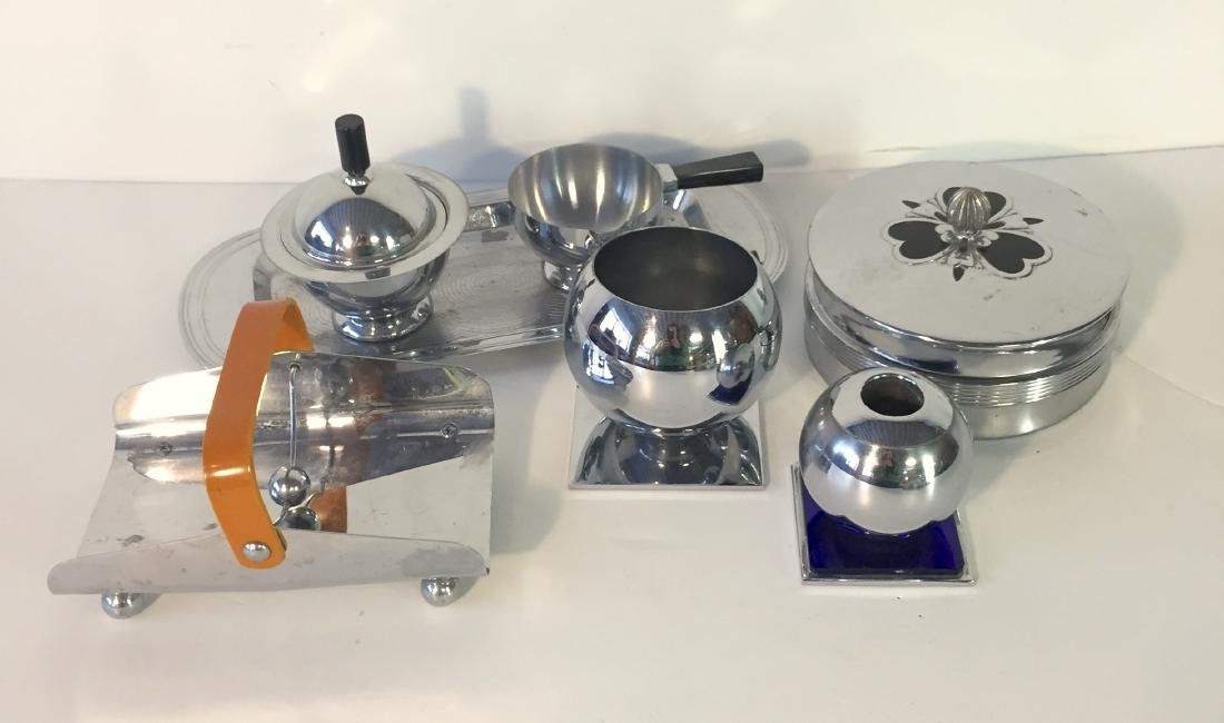 Lot Art Deco Chase Chrome Items