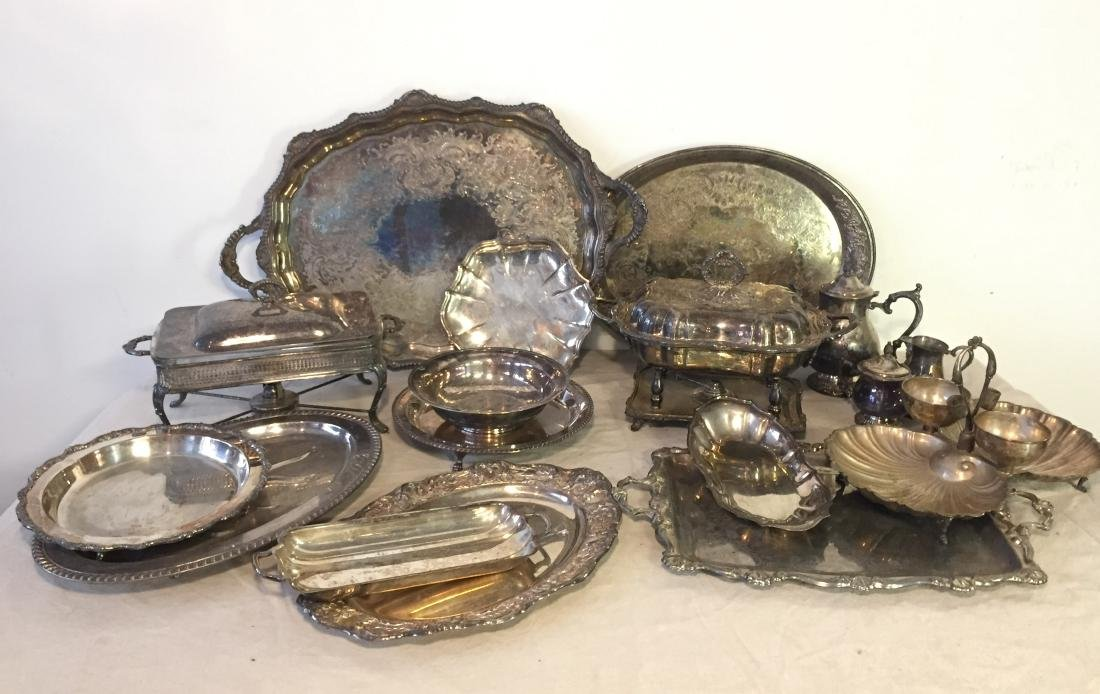 Large Lot Silver Plate Serving Pieces