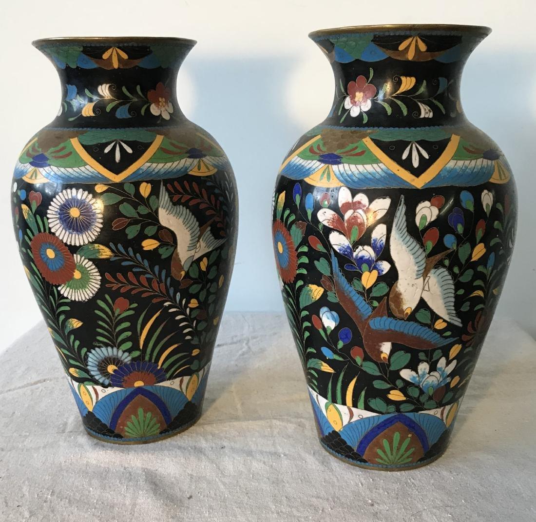 Pair Antique Cloisonne Enamel Vases