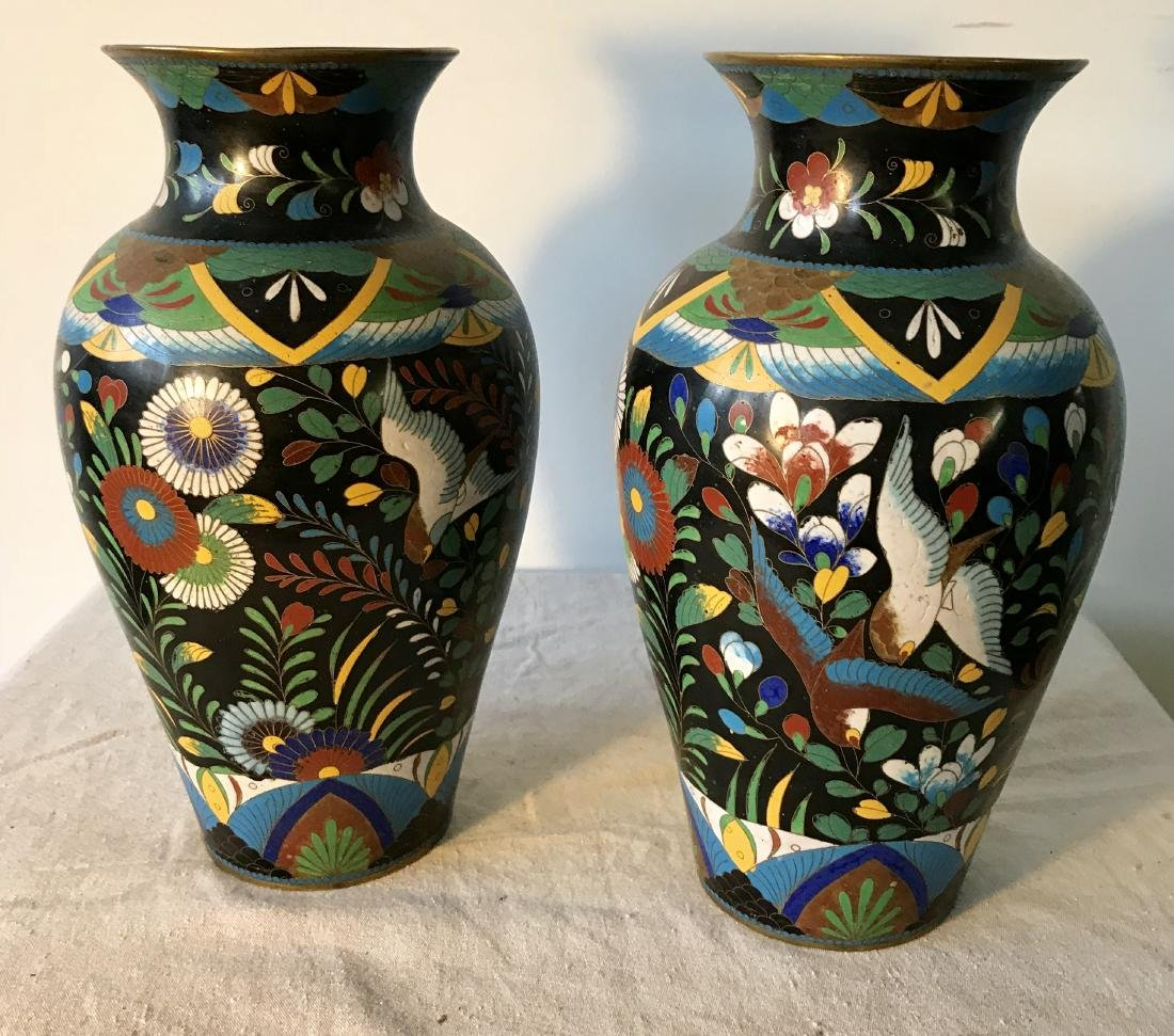 Pair Antique Cloisonne Enamel Vases - 2