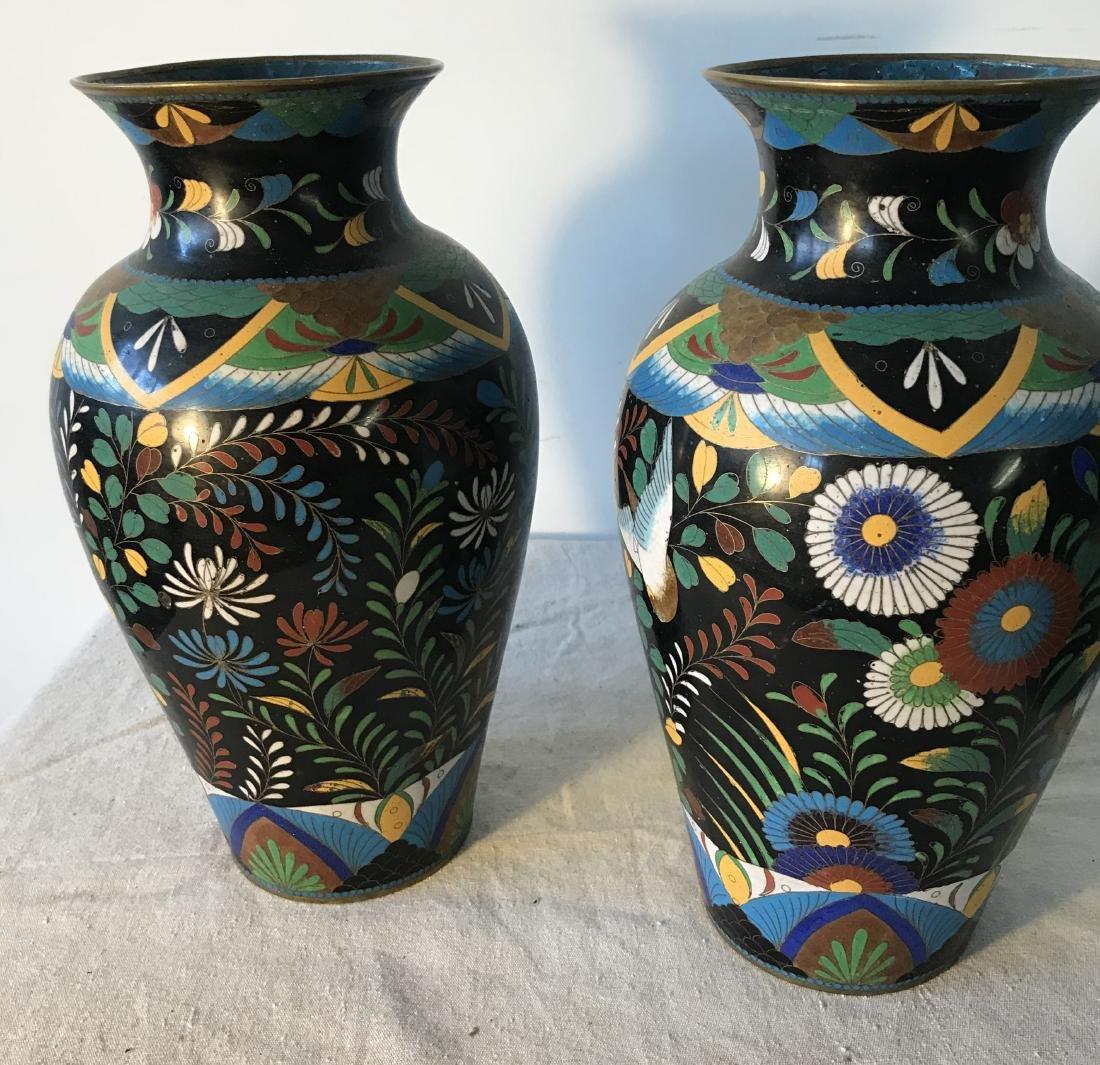 Pair Antique Cloisonne Enamel Vases - 3