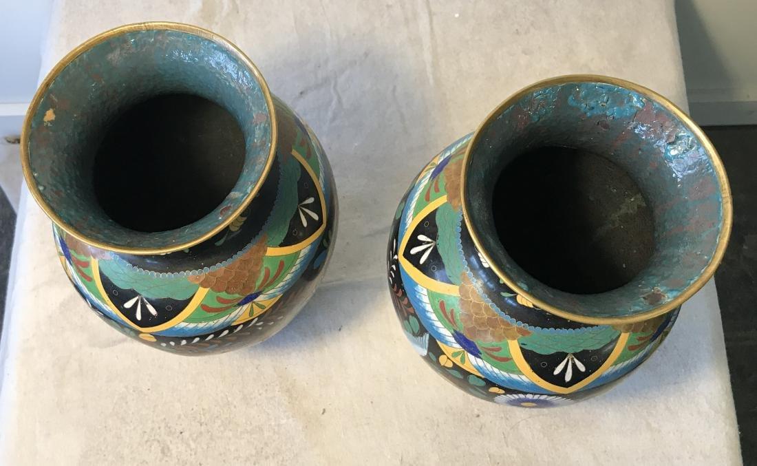 Pair Antique Cloisonne Enamel Vases - 4