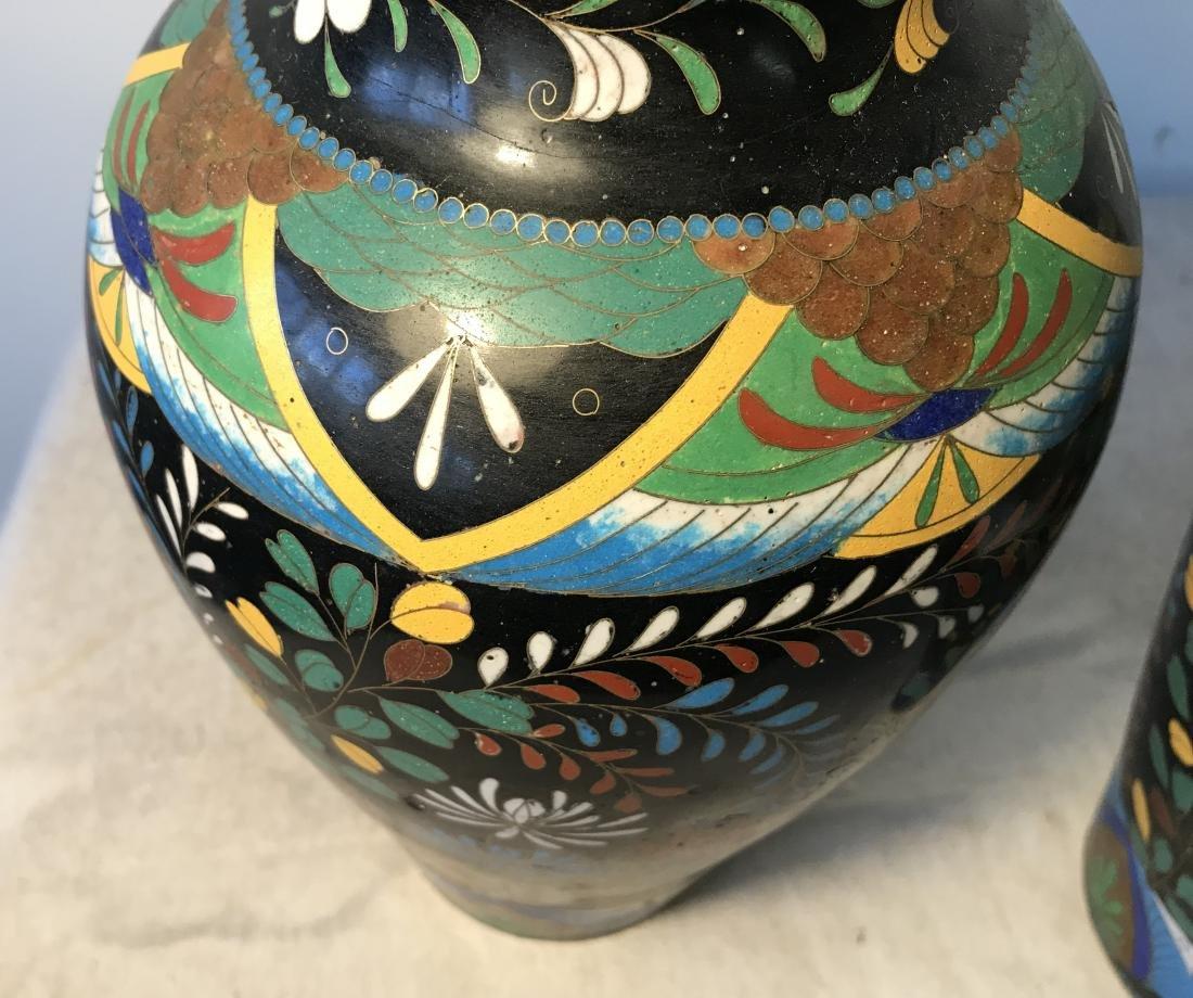Pair Antique Cloisonne Enamel Vases - 5
