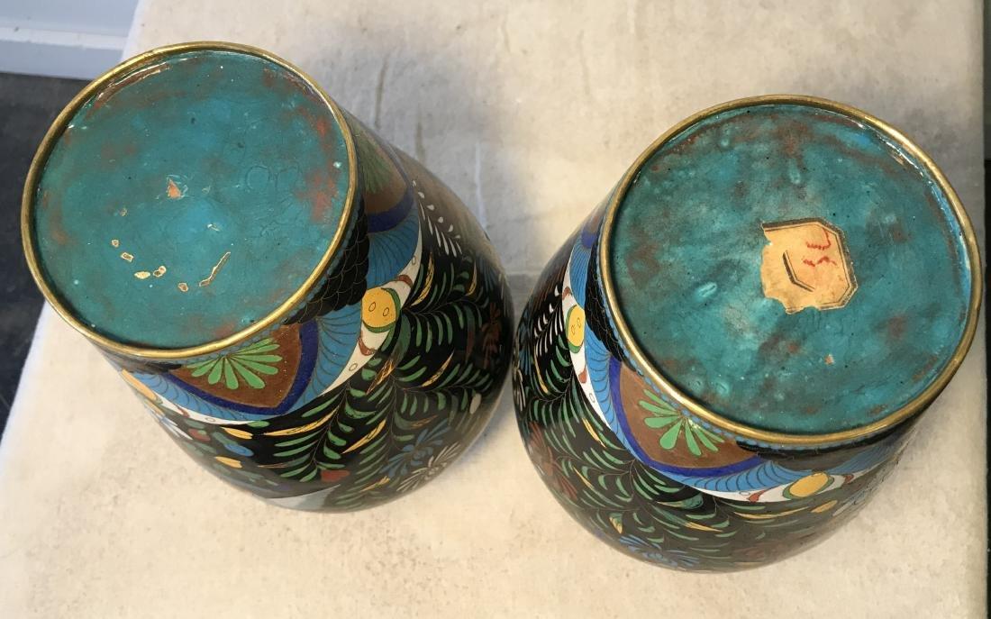 Pair Antique Cloisonne Enamel Vases - 6