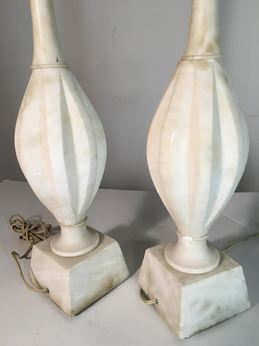 Pair Vintage Marble Lamps - 5