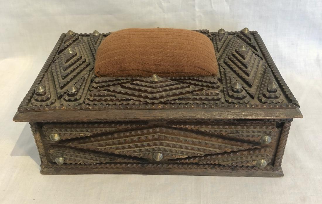Antique Tramp Art Sewing Box