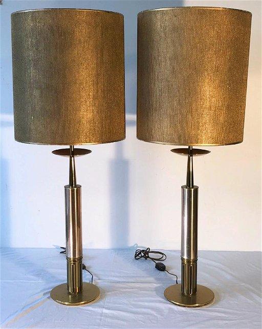 Vintage Stiffel Lamps >> Stiffel Brass And Steel Lamps With Greek Key