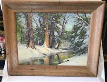 Alan Dean Cochran Oil Painting in Frame Winter Scene