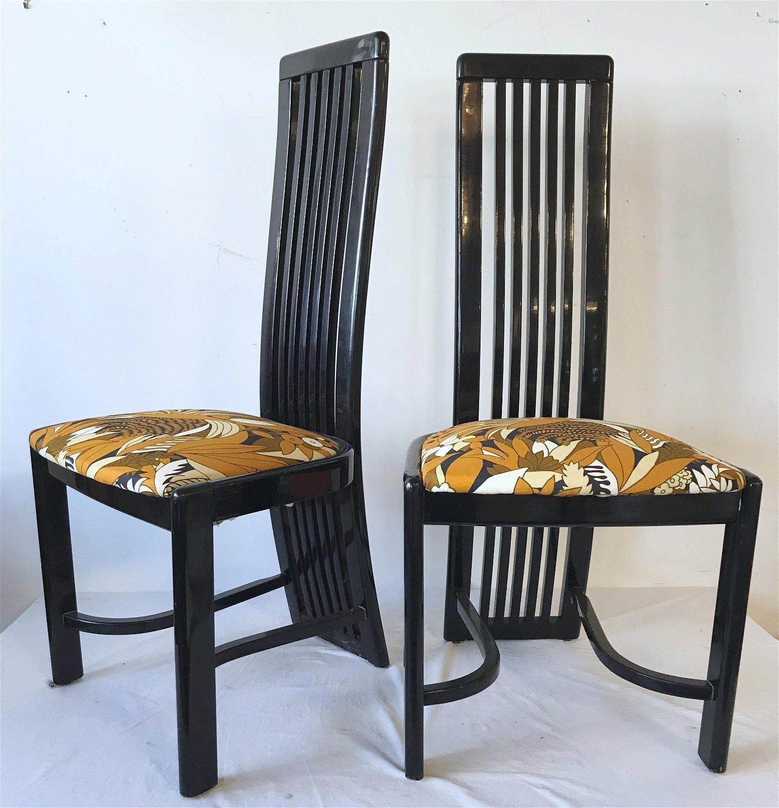 Pair Italian Black Lacquer High Back Chairs