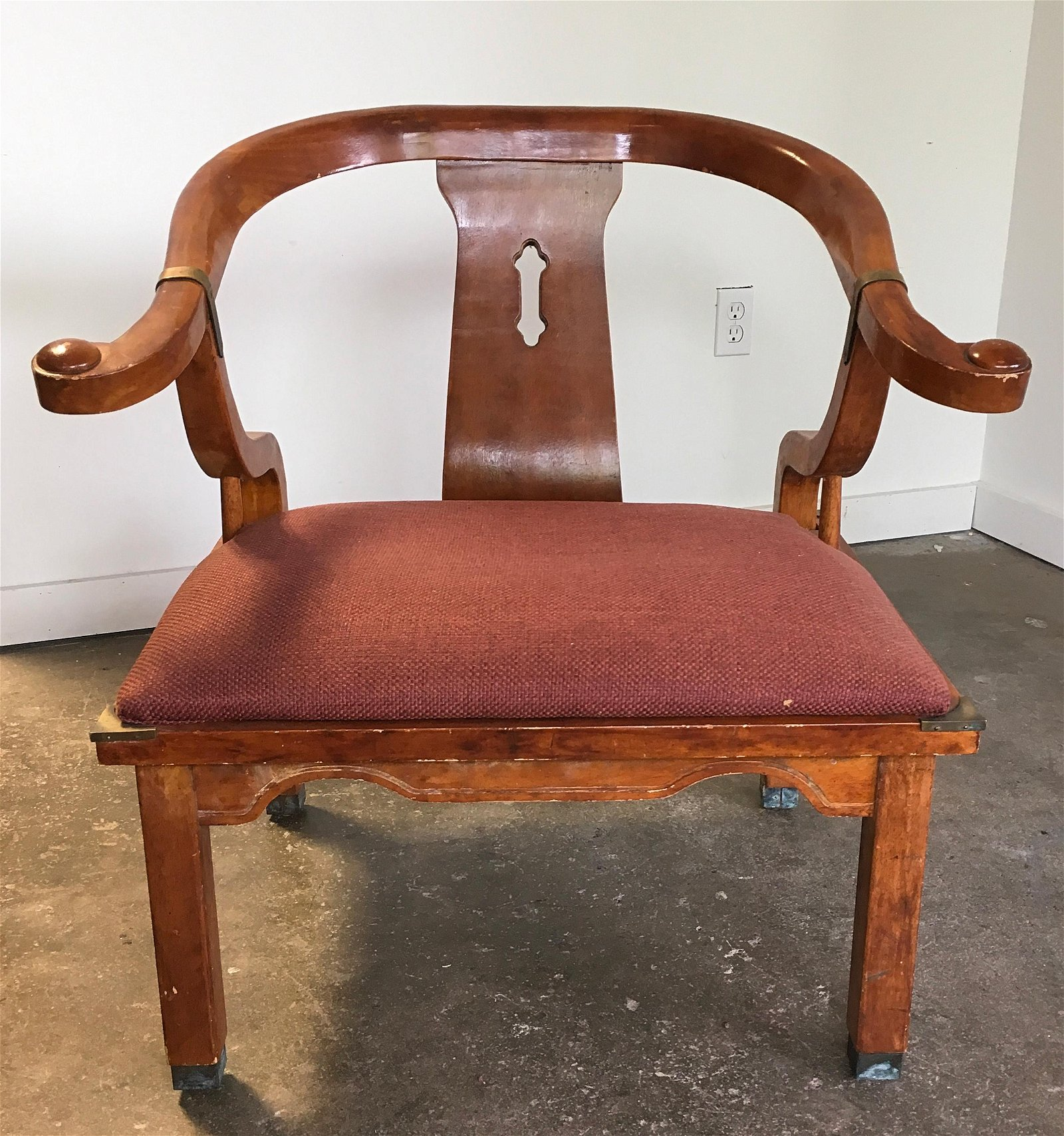 Mid Century Asian Style Horseshoe Back Chair