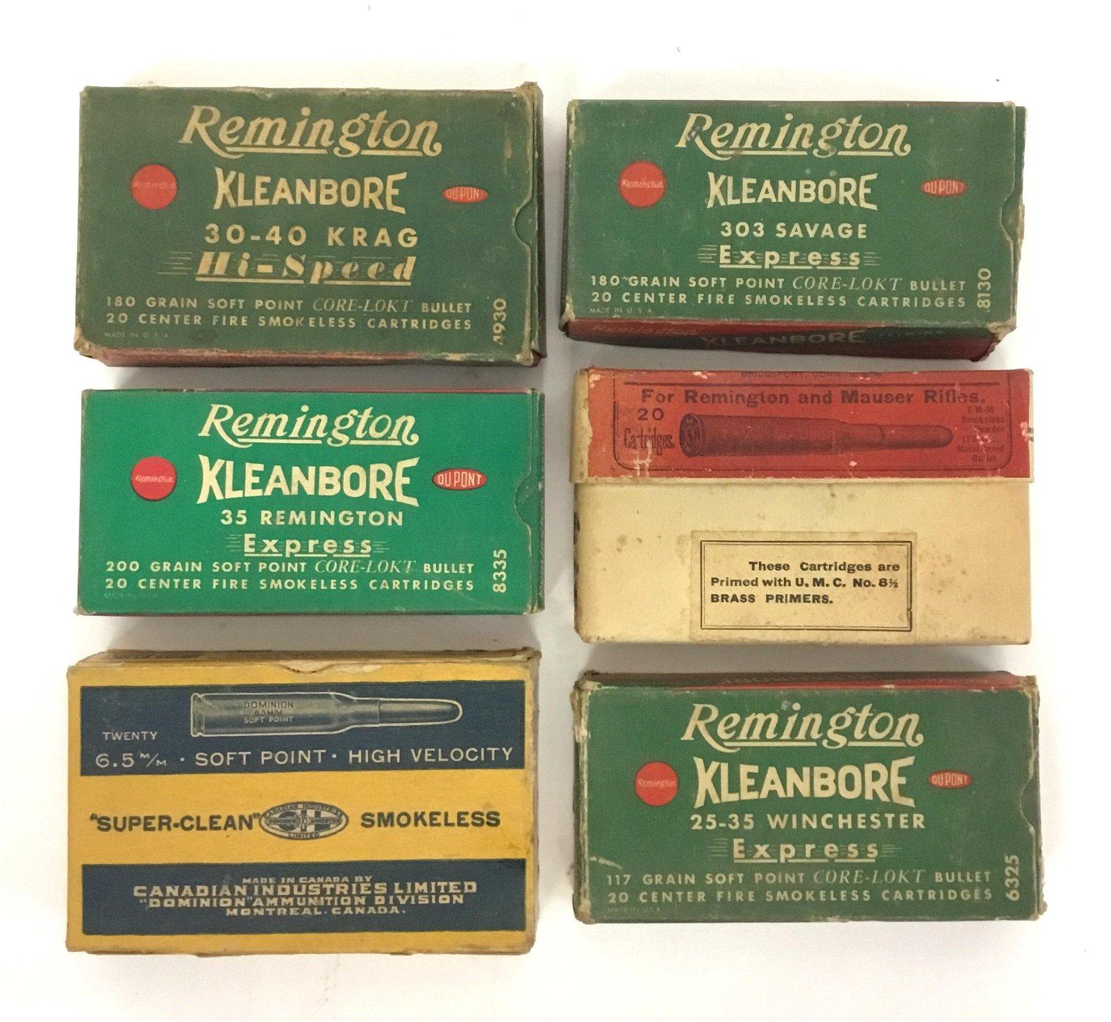 Lot of 6 Ammo Boxes Remington Mauser Dominion