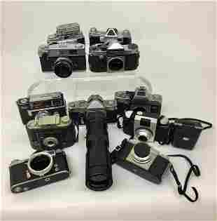 Lot of 11 Vintage Cameras Kodak Praktina Sears Ansco