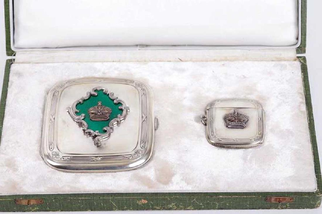 Russian Imperial Silver Set of Cigarette Case and Match