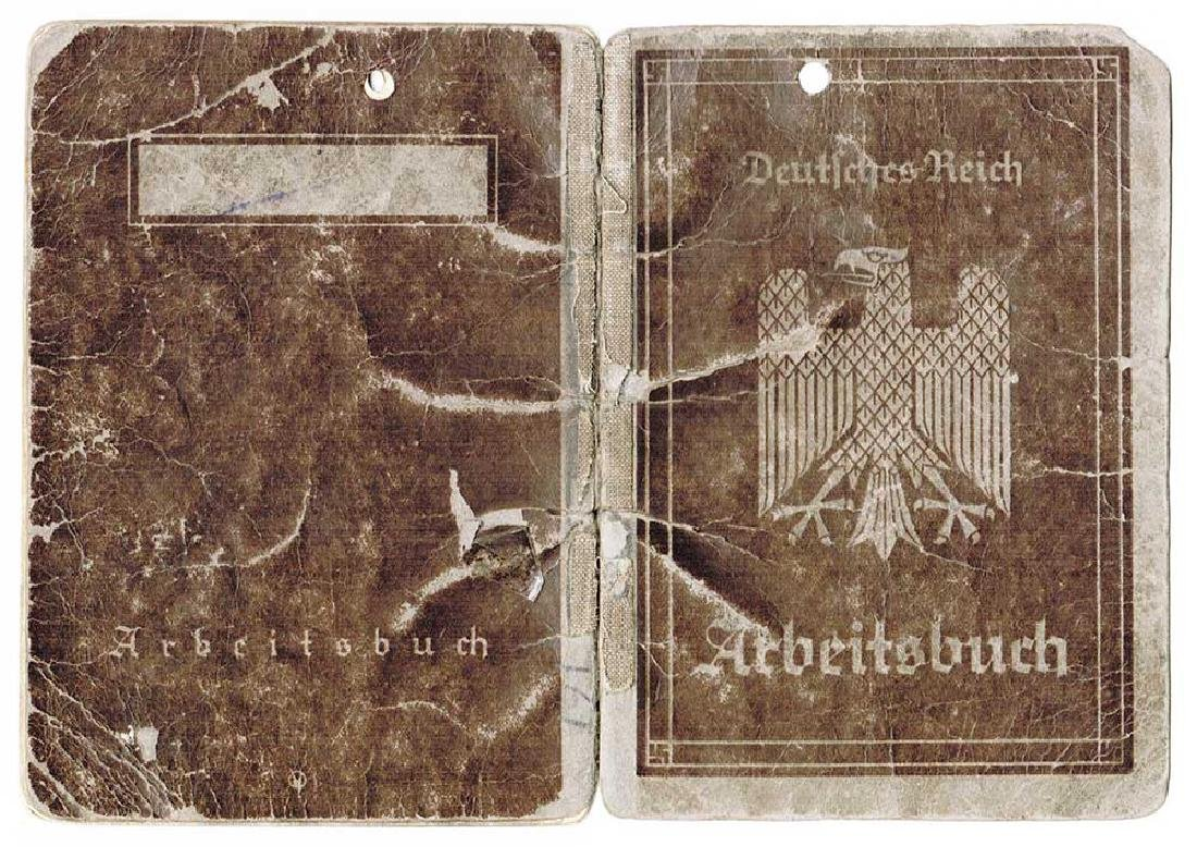 German WW2 Arbeitsbuch w. Concentration Camp stamp - 2