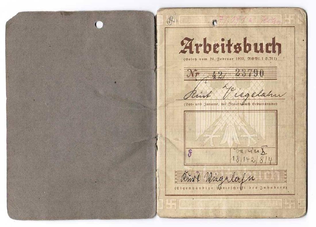German WW2 Arbeitsbuch w. Concentration Camp stamp - 3