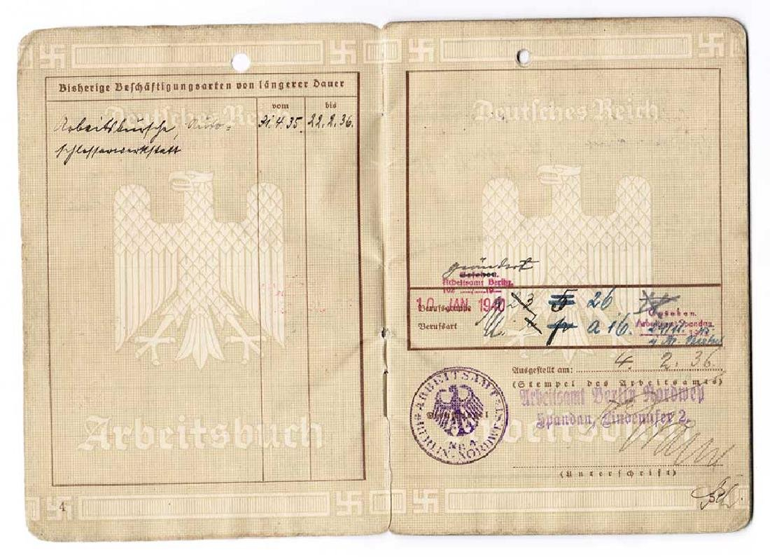 German WW2 Arbeitsbuch w. Concentration Camp stamp - 6