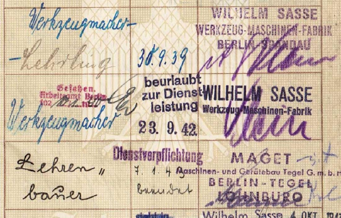 German WW2 Arbeitsbuch w. Concentration Camp stamp - 8