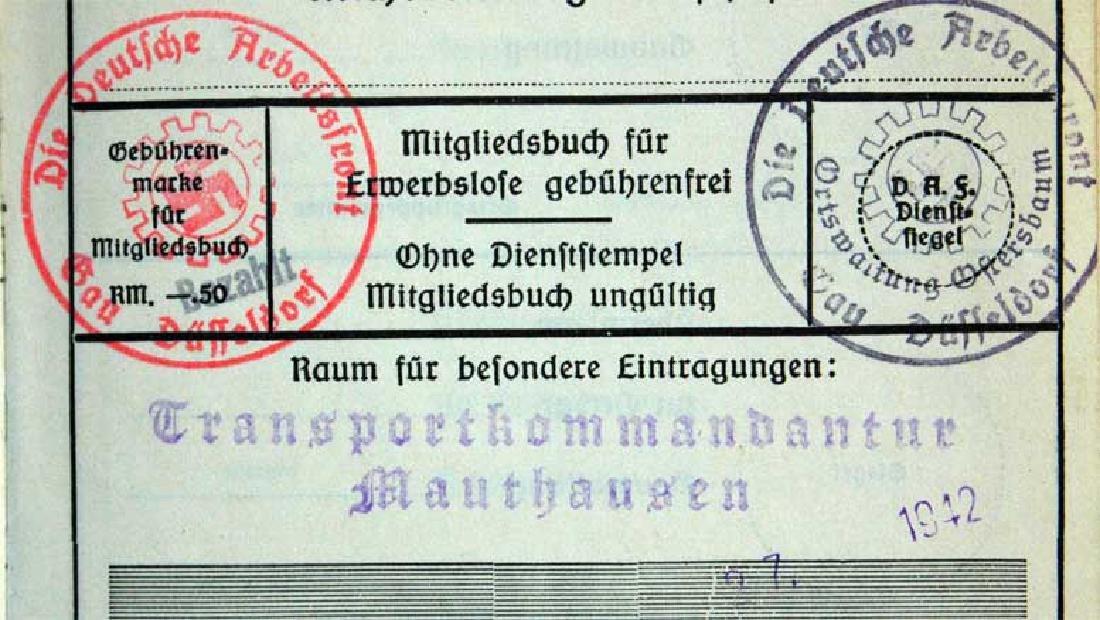 German WW2 ARBEITSFRONT BOOK fr. MAUTHAUSEN KL - 10
