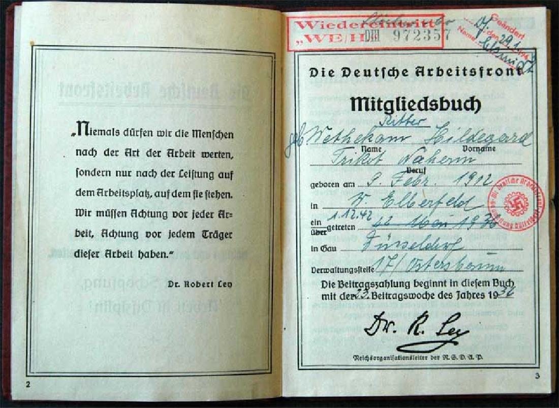 German WW2 ARBEITSFRONT BOOK fr. MAUTHAUSEN KL - 2