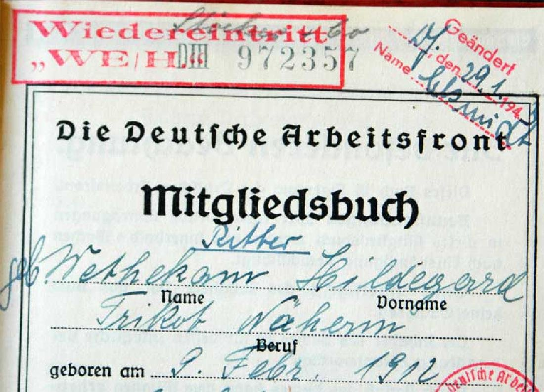 German WW2 ARBEITSFRONT BOOK fr. MAUTHAUSEN KL - 3
