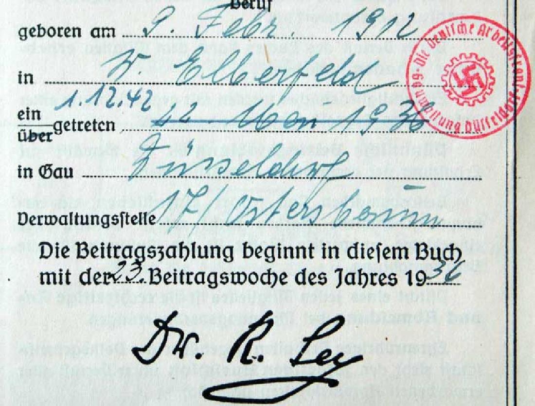 German WW2 ARBEITSFRONT BOOK fr. MAUTHAUSEN KL - 4