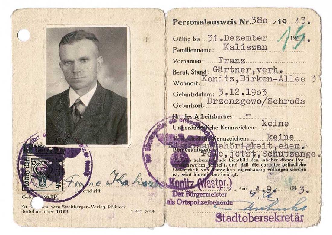 German WW2 Ausweis ID for Polish, 1943