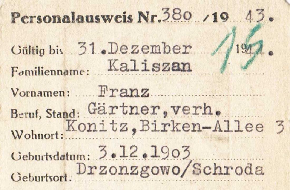 German WW2 Ausweis ID for Polish, 1943 - 4