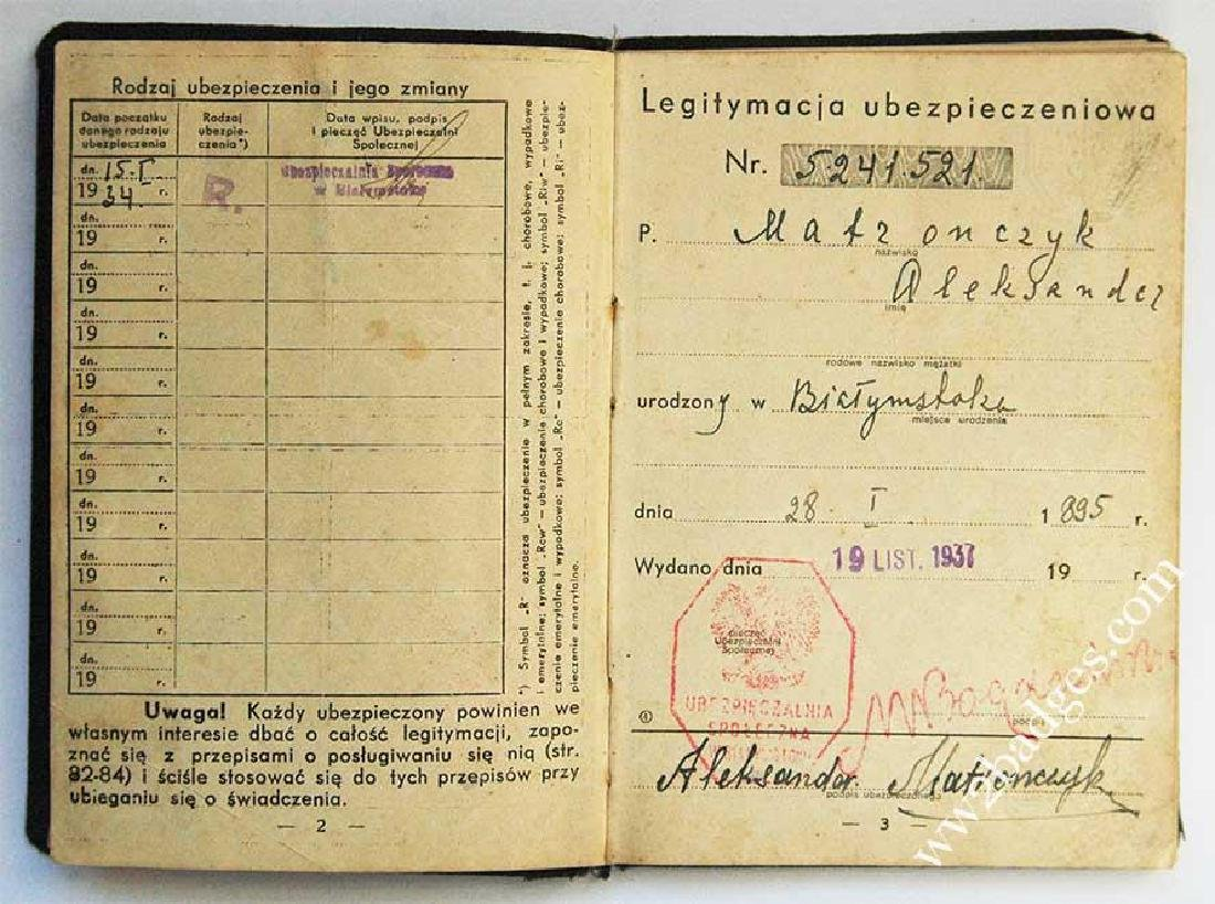 Polish WW2 passport ID with photo, stamped