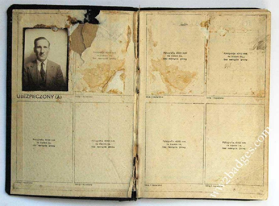 Polish WW2 passport ID with photo, stamped - 3