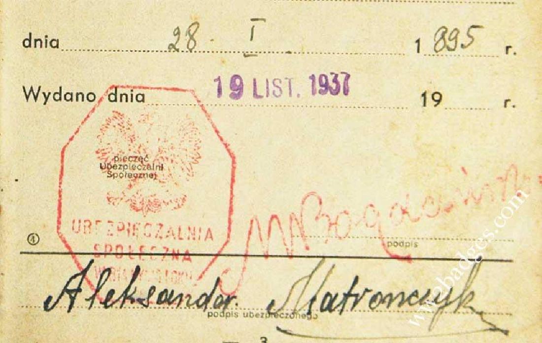 Polish WW2 passport ID with photo, stamped - 6