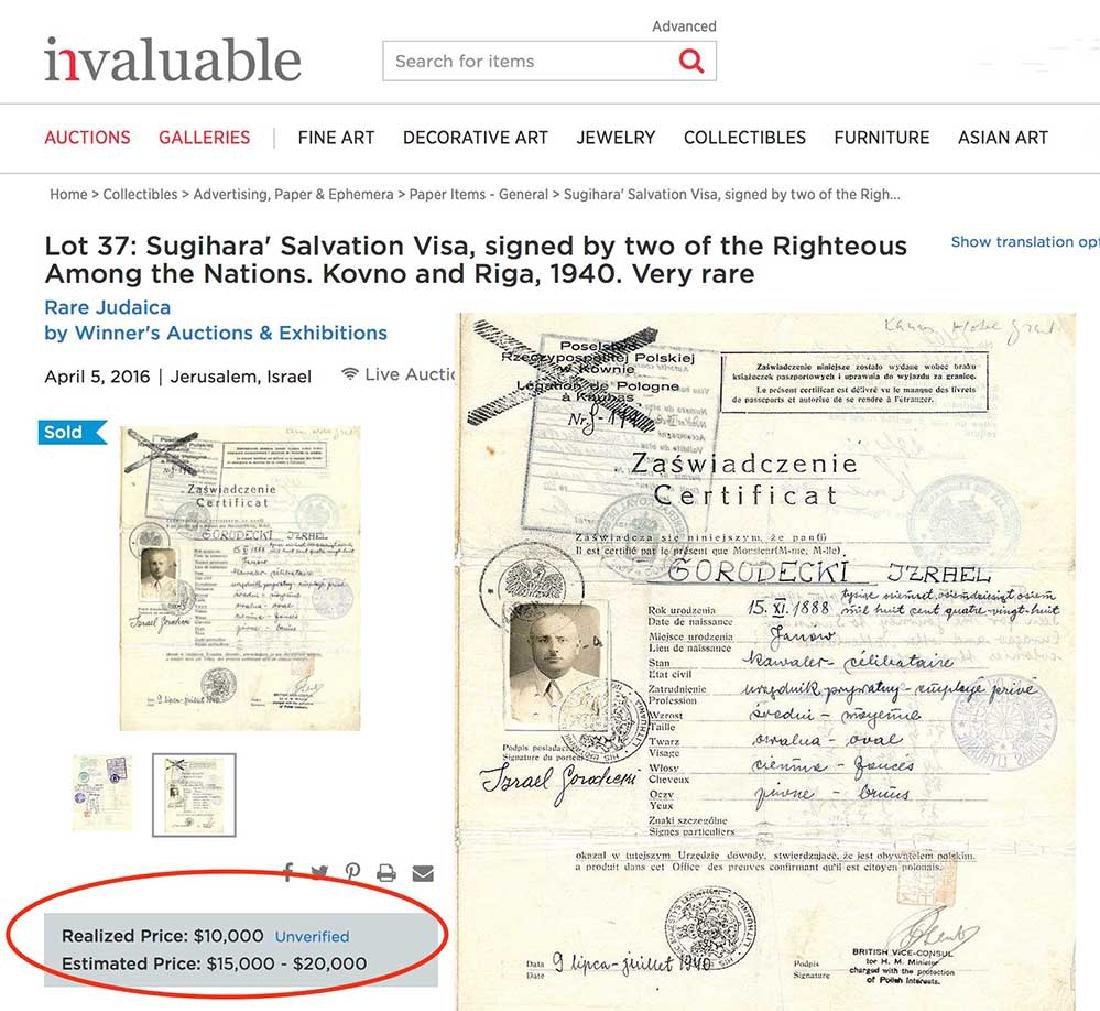 Original Rare Jewish WW2 VISA DOCUMENT - 6