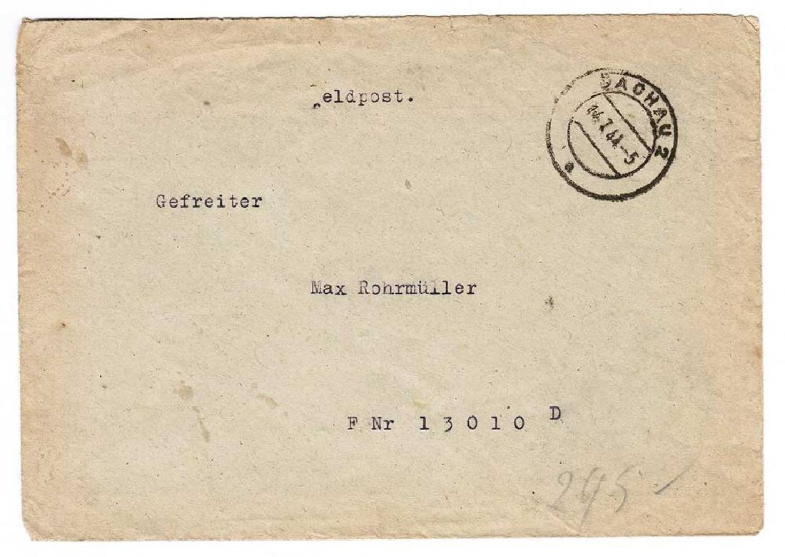 German WW2 Envelope Corporal, DACHAU 1944 - 2