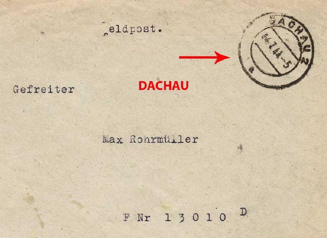 German WW2 Envelope Corporal, DACHAU 1944 - 3