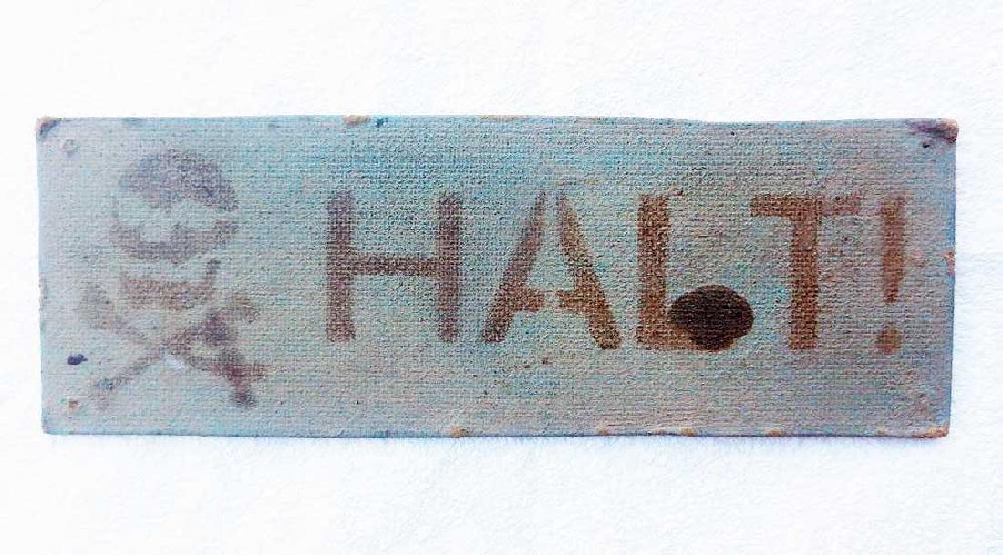 German WW2 STOP Sign w. Skull & Bones, KL, KZ