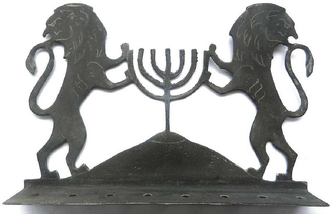 Original Jewish WW2 Hanukkah LIONs w. Menorah, 1942 - 2