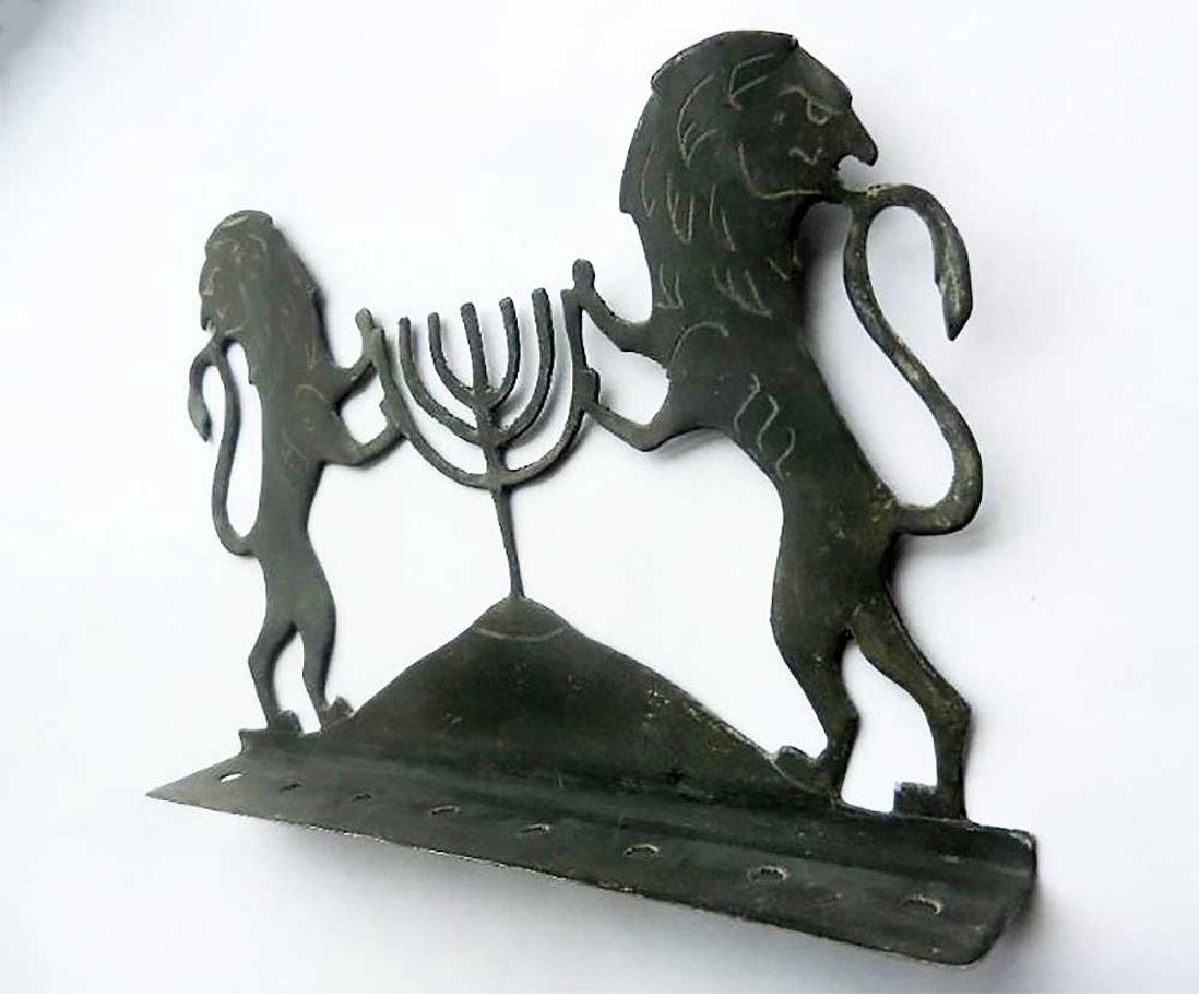 Original Jewish WW2 Hanukkah LIONs w. Menorah, 1942 - 3