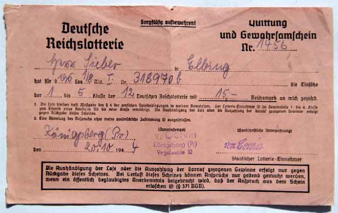 VERY RARE German WW2 Receipt for Reichs Lottery, 1944