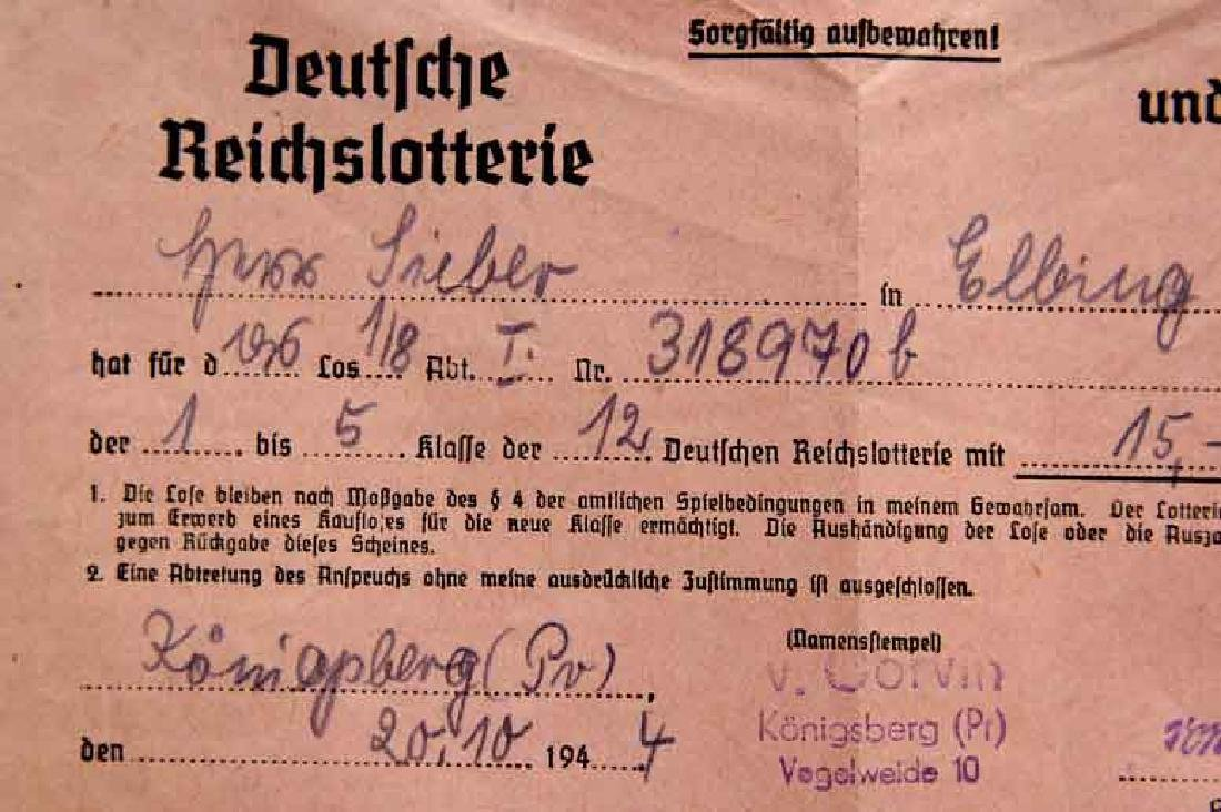 VERY RARE German WW2 Receipt for Reichs Lottery, 1944 - 2