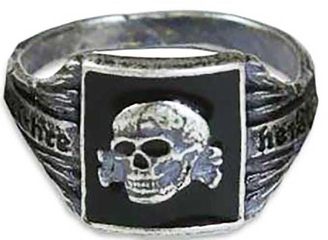 GERMAN WW2 SS Silver Ring w. TOTENKOPF SKULL