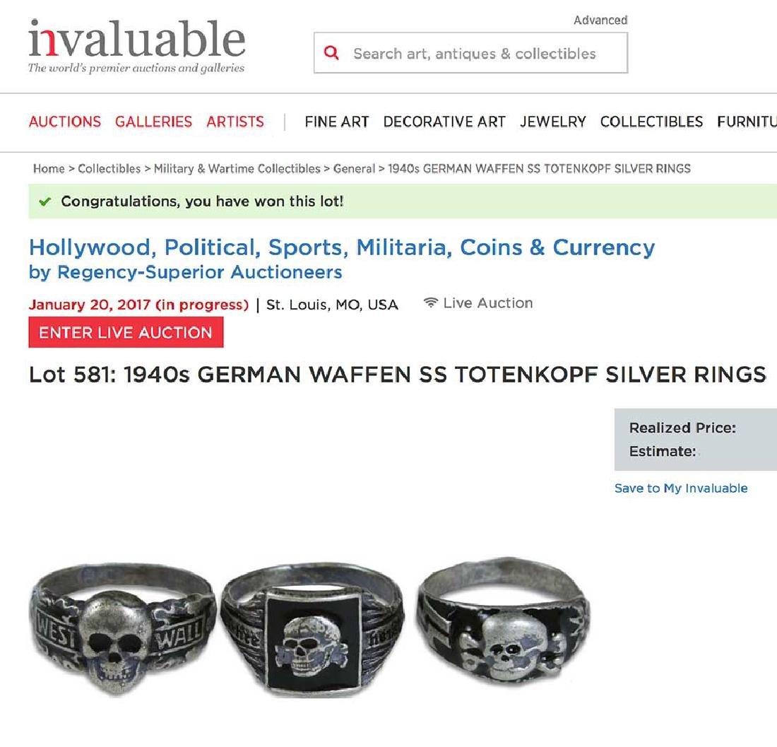 GERMAN WW2 SS Silver Ring w. TOTENKOPF SKULL - 2