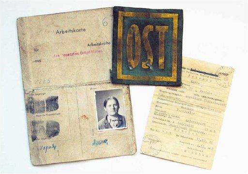 German WW2 Arbeitskarte for Ukrainian + patch OST