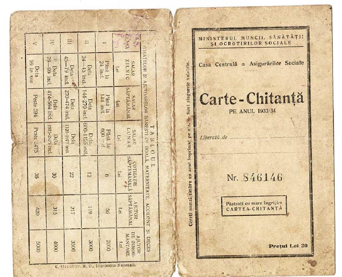 Old Romanian Document Carte, Chitanta, 1933  -  1934