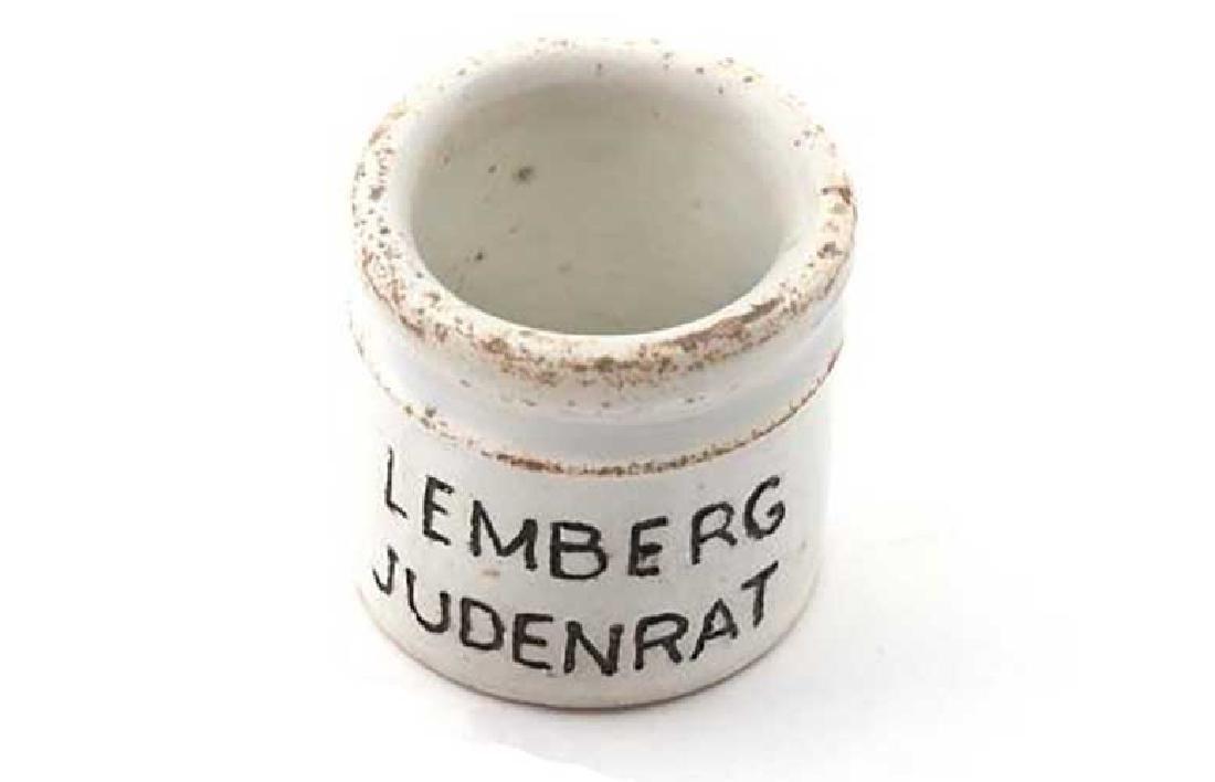 Ceramic INKWELL, LEMBERG Jewish Judenrat, 1940s - 2