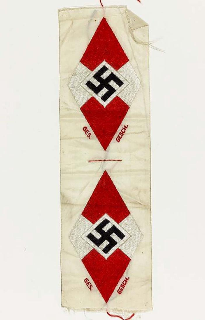 German WW2 Hitler Youth BeVo Sleeve Patches, HJ