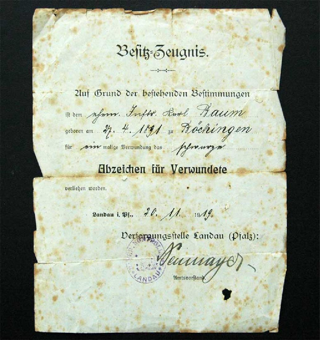 German WW1 Black Wound Badge Award Document, 1919