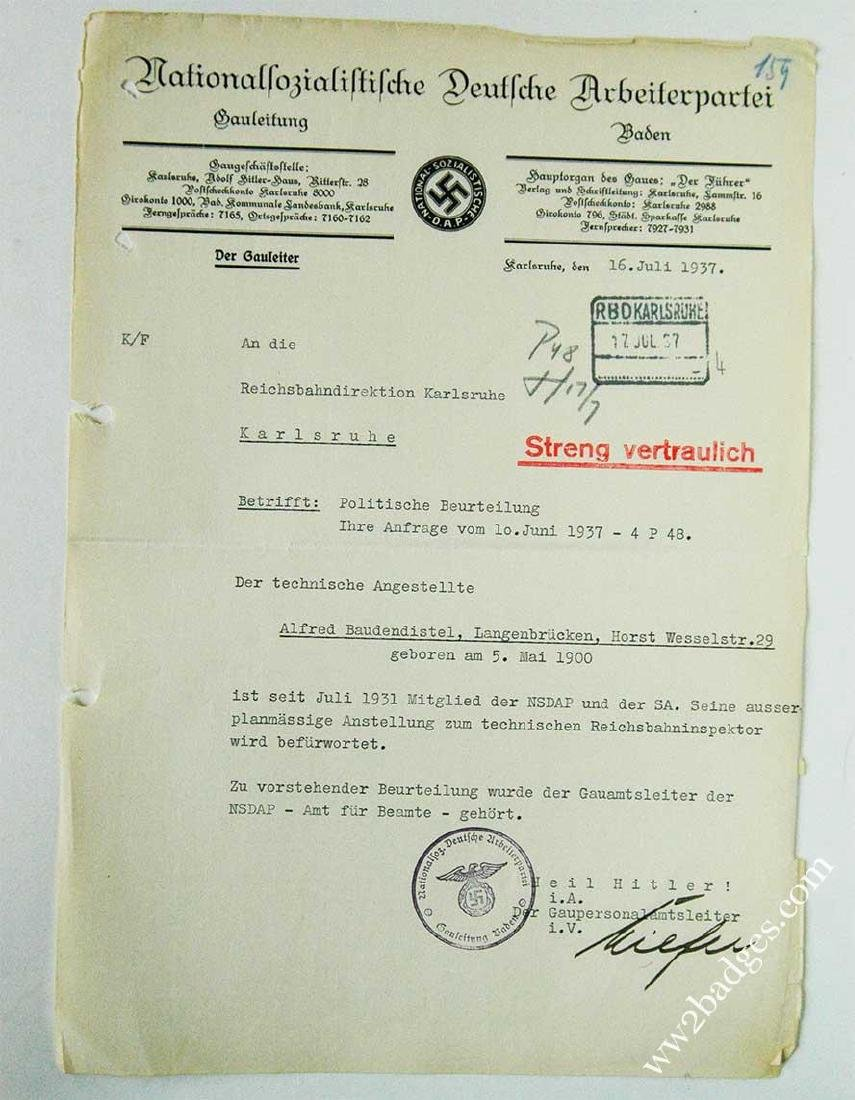 German WW2 NSDAP Document - Strictly Confidential