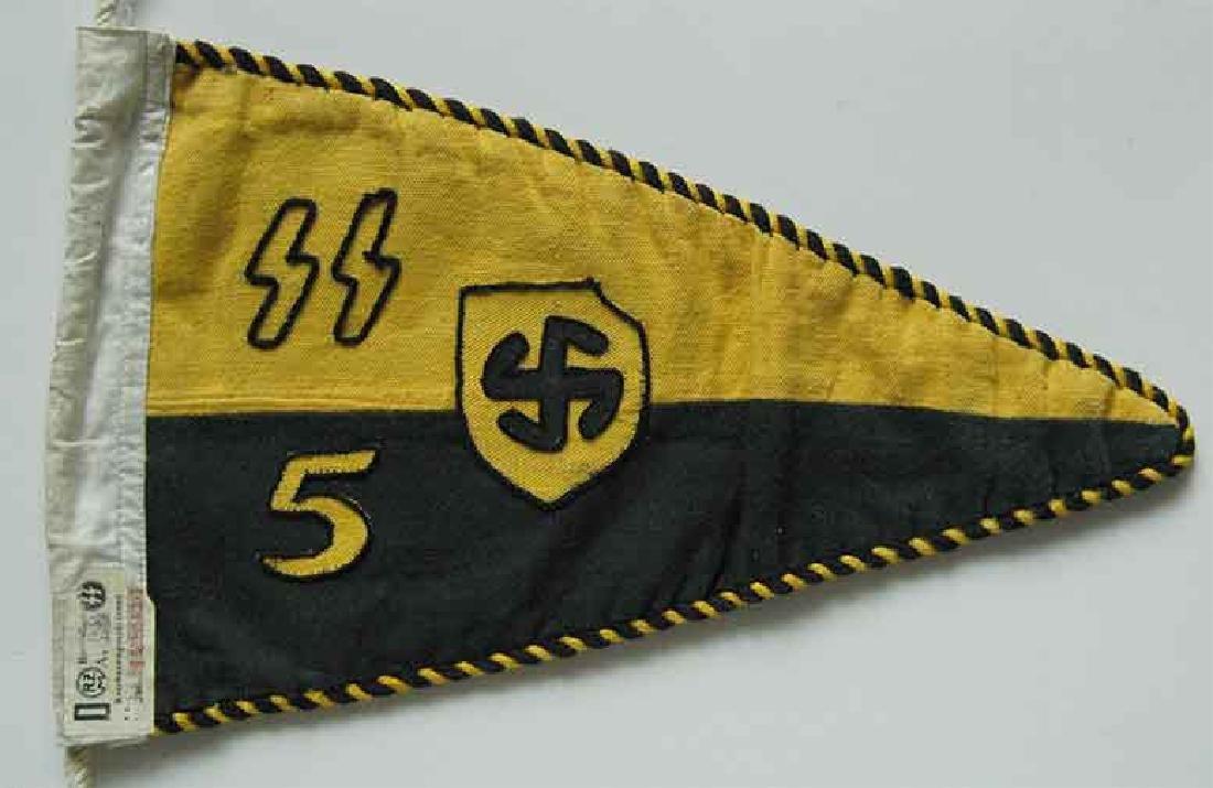 Very Rare German WW2 SS Elite Car Pennant w. RZM