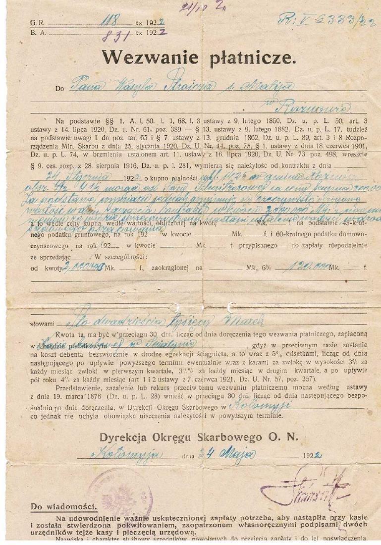 Polish Document Wezwanie Platinize - Call Payment, 1922